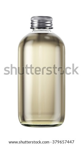 Plastic or glass bottle isolated on white background. 3D Mock up for your design. Oil, shampoo, conditioner, shower gel, cosmetics, beverage, lemonade, soda, perfume. #379657447