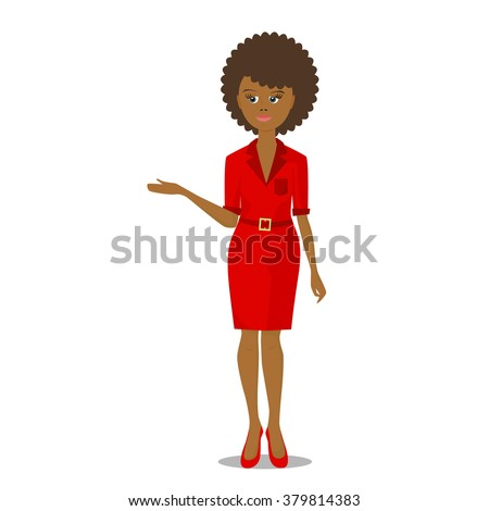 african black woman in red illustration