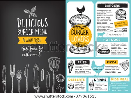 Restaurant brochure vector, menu design. Vector cafe template with hand-drawn graphic. Food flyer. Royalty-Free Stock Photo #379861513