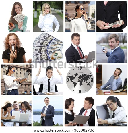 Business collage made of many different pictures about finances, time, money. #380082736