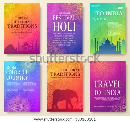 Set of Indian country ornament illustration concept. Art traditional, book, poster, abstract, ottoman motifs, element. Vector decorative ethnic greeting card or invitation design background. Royalty-Free Stock Photo #380183101