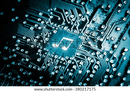Music note on computer chip - technology concept #380217175