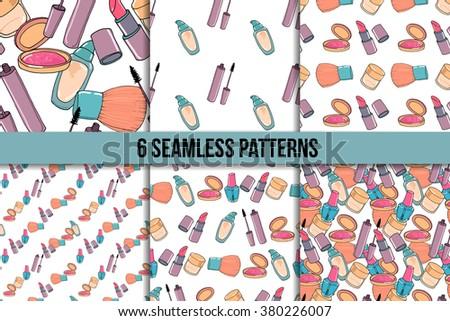 Makeup hand drawn seamless pattern set. Mascara, lipstick, concealer, blusher on white background. #380226007