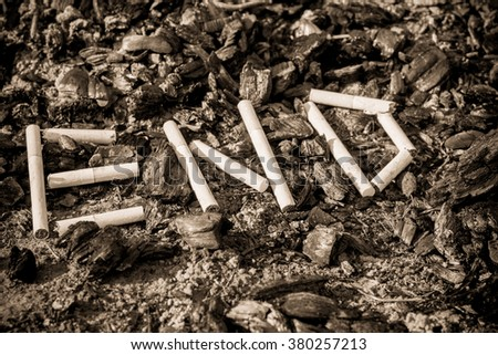 """On the ground, scattered coals (ash). On the coals of cigarettes lined inscription """"end"""".  #380257213"""