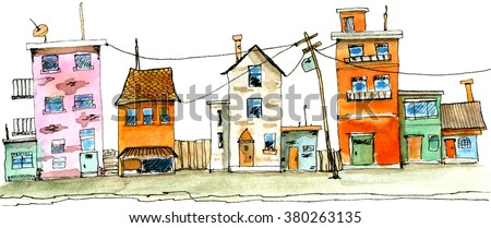 Street scene in old town with colorful childish building. Watercolor illustration of cute houses on white background.