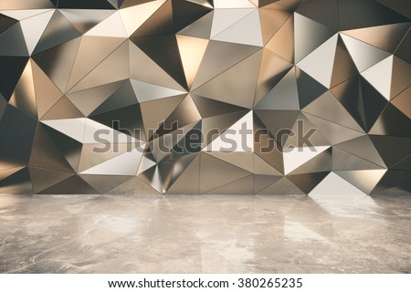Abstact exterior with concrete floor and 3d futuristic wall 3D Render #380265235