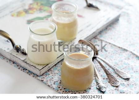 sunny Sunday breakfast with  homemade yogurt #380324701