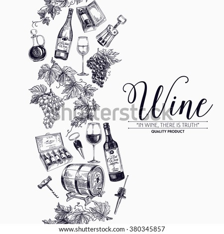 Vector background with hand drawn wine bottle, wine cask and wineglass. Winery illustration. Template design. Border. Repeating background.