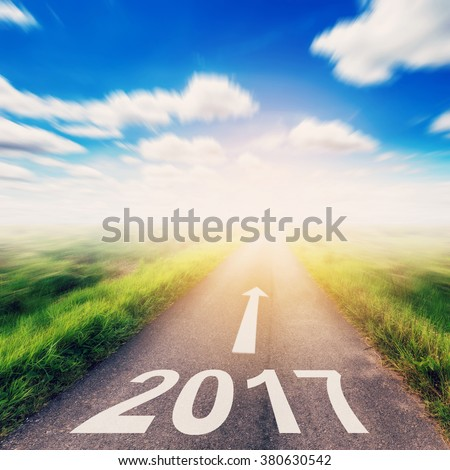 Country road blurred of New Year 2017 for Business concept. #380630542