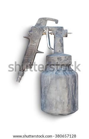 Old spray gun isolated white background #380657128