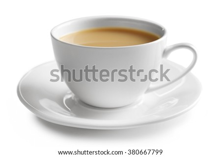 Porcelain cup of tea with milk isolated on white background #380667799