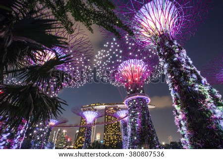 SINGAPORE -FEBRUARY 14: Night view of Supertree Grove at Gardens by the Bay on Feb 14, 2016 in Singapore. Spanning 101 hectares of reclaimed land in central Singapore, adjacent to the Marina Reservoir #380807536