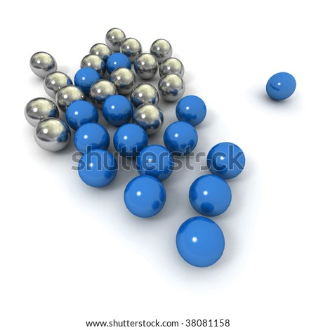 Metallic marbles in blue and silver against a white background #38081158