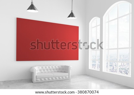 Big red poster in modern light room with white sofa and big window, mock up 3D Render