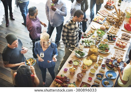 Brunch Choice Crowd Dining Food Options Eating Concept #380896033