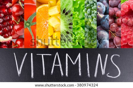 Fruits and vegetables background. Vitamins. Fresh food #380974324