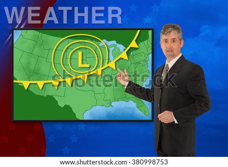 A tv television news weather meteorologist anchorman is reporting with a colorful background and weather graphics on the monitor screen. #380998753