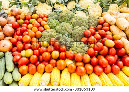 many types of vegetables on market #381063109