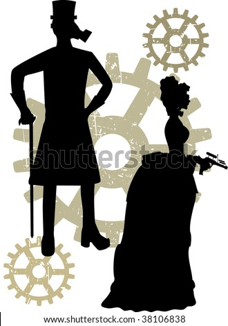 Abstract steampunk male and woman with rustic grunge gears