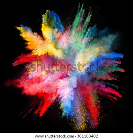 Explosion of colorful powder, isolated on black background #381103402
