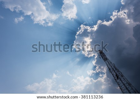 telecommunications tower with blue sky and clouds sky,Raincloud #381113236