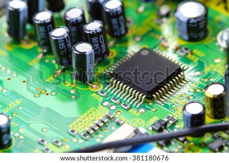 Closeup electronic circuit board background #381180676