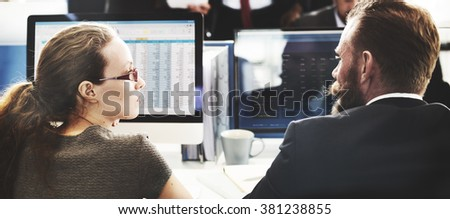 Business Finance Team Busy Workplace Concept #381238855