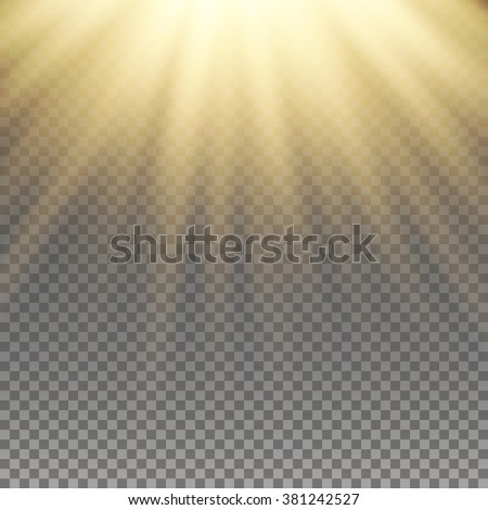 Yellow warm light effect, sun rays, beams on transparent background. Vector illustration.