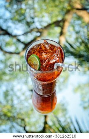 A glass of lime iced tea #381262510