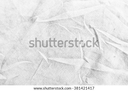Free form on white light gray cotton fabric sheet background texture