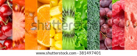 Background of fruits, berries and vegetables. Fresh food #381497401