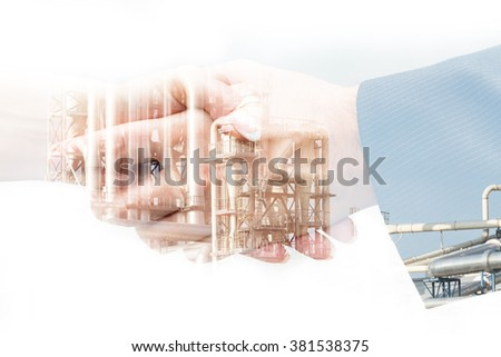 Handshake in the industry, unusual digital modification in the double exposure #381538375