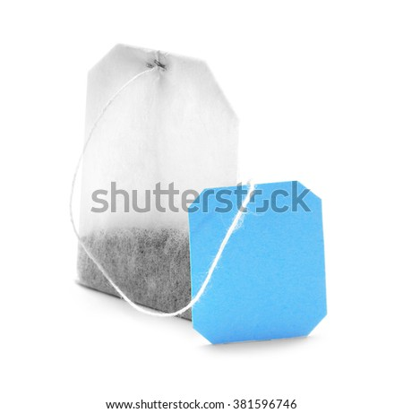 Teabag with blue label isolated on white background #381596746