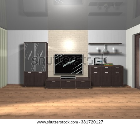 interior of living room 3D rendering #381720127