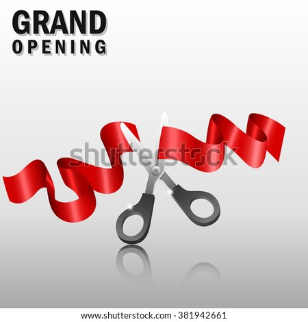 Grand opening with red ribbon and scissors #381942661