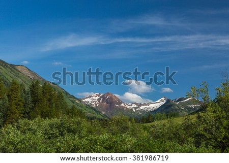 Mountain view of Mount Baldy from Oh Be Joyful Camp Ground, near Crested Butte, Colorado, in the Rocky Mountains #381986719