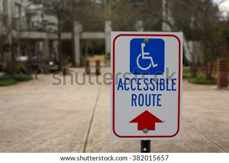 Accessible Route Handicap Sign Red Arrow