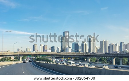 Travel in capital with building office and bridge on expressway bangkok #382064938