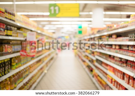 Supermarket blur background with bokeh, Miscellaneous Product shelf #382066279
