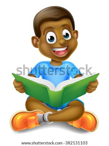 A cartoon little black boy sitting crossed legged enjoying reading a book