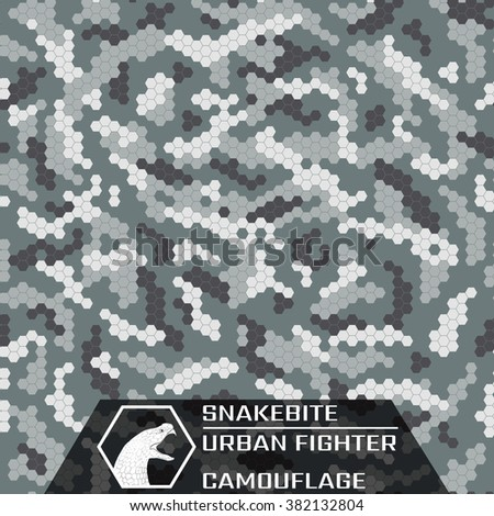 Snakebite. Urban Fighter. Texture of urban camouflage. Seamless Pattern.