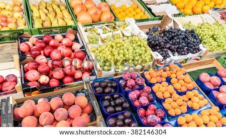 VIENNA, AUSTRIA - AUGUST 11, 2015: Fruits For Sale In Naschmarkt, Vienna's Most Popular Fruits And Vegetables Market. #382146304