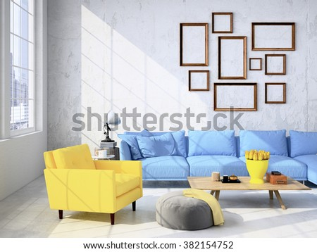 living room loft interior. 3d rendering #382154752