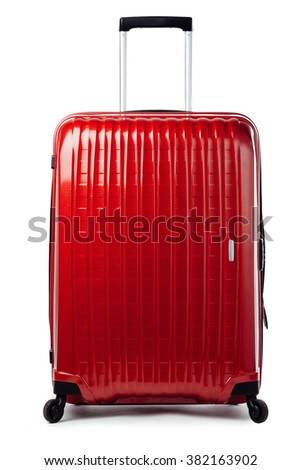 red carbon suitcase isolated on white #382163902