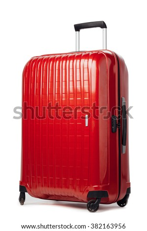 red carbon suitcase isolated on white #382163956