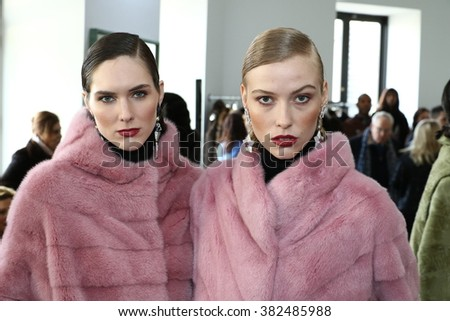 NEW YORK, NY - FEBRUARY 11: Models pose at the Helen Yarmak Int'l Presentation during Fall 2016 New York Fashion Week on February 11, 2016 in New York City. #382485988