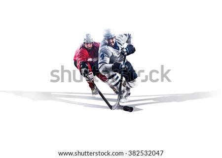 Professional hockey player skating on ice. Isolated in white #382532047
