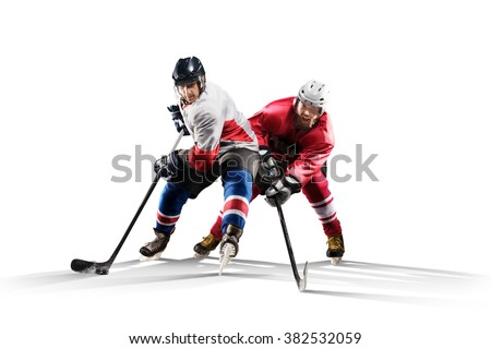 Professional hockey player skating on ice. Isolated in white #382532059