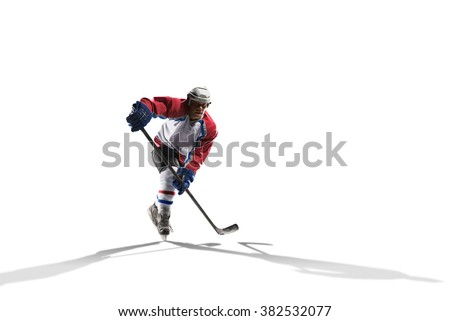 Professional hockey player skating on ice. Isolated on white #382532077