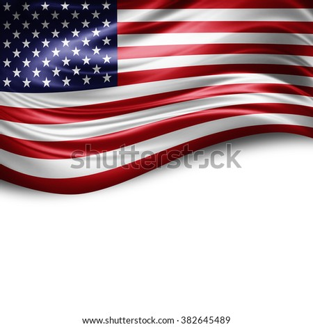 America of silk with copyspace for your text or images and white background #382645489
